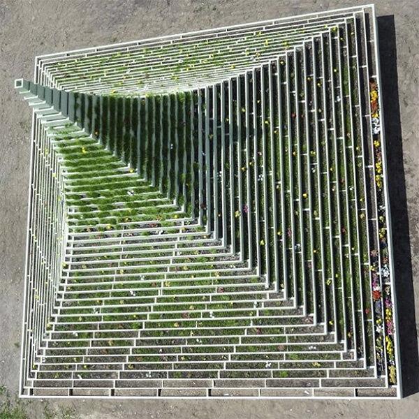 Agnes Denes' Living Pyramid (2015). Image courtesy @cultured_mag, via Instagram.