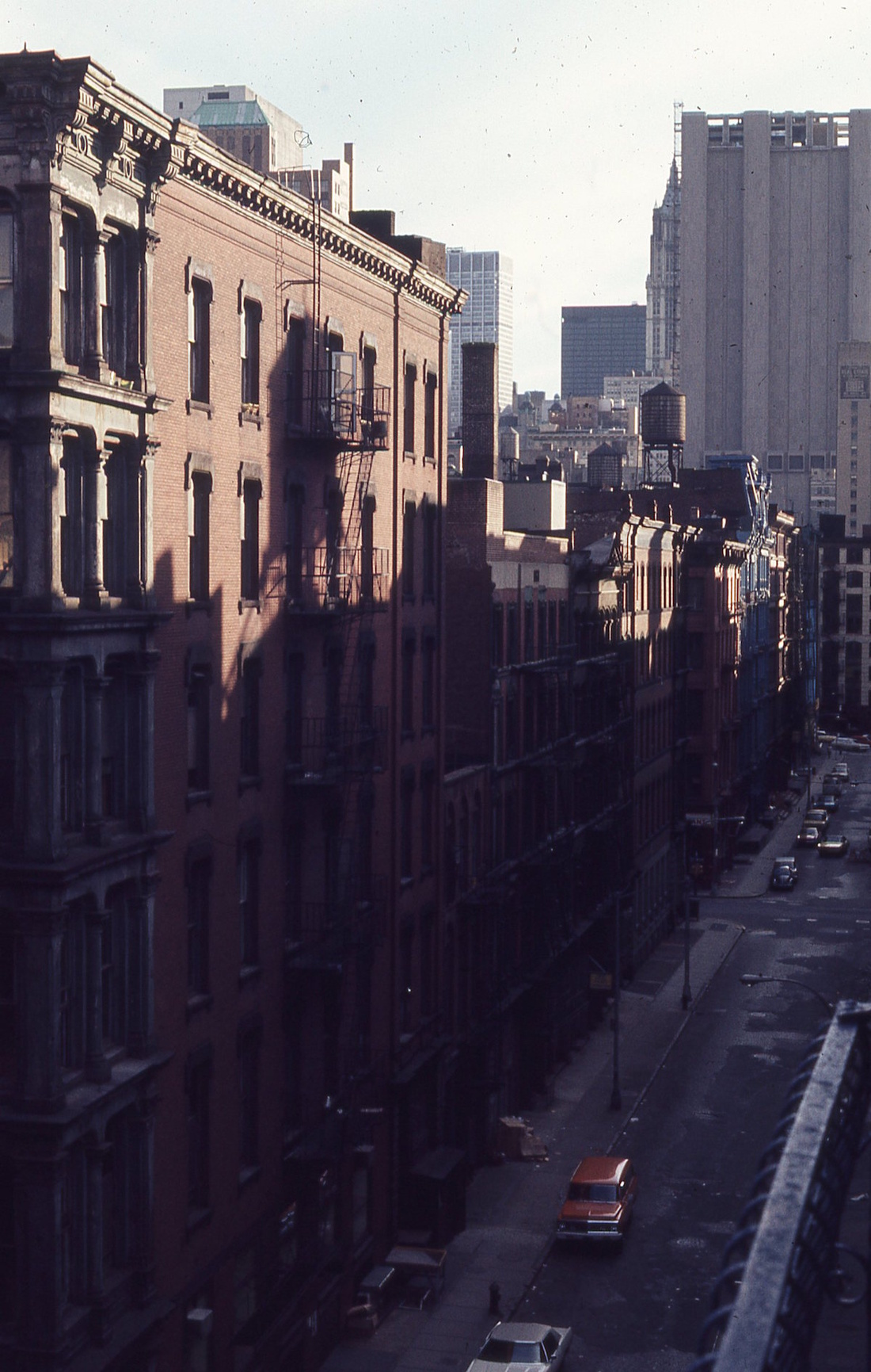 Looking south down Greene Street, New York, from a loft's fire escape, 1971. Photo by Eric Cashdan.