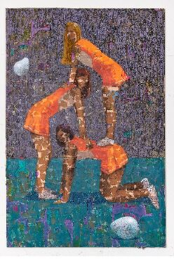 Derek Fordjour, Six Hand Stand, 2018. Courtesy of Josh Lilley Gallery, London.