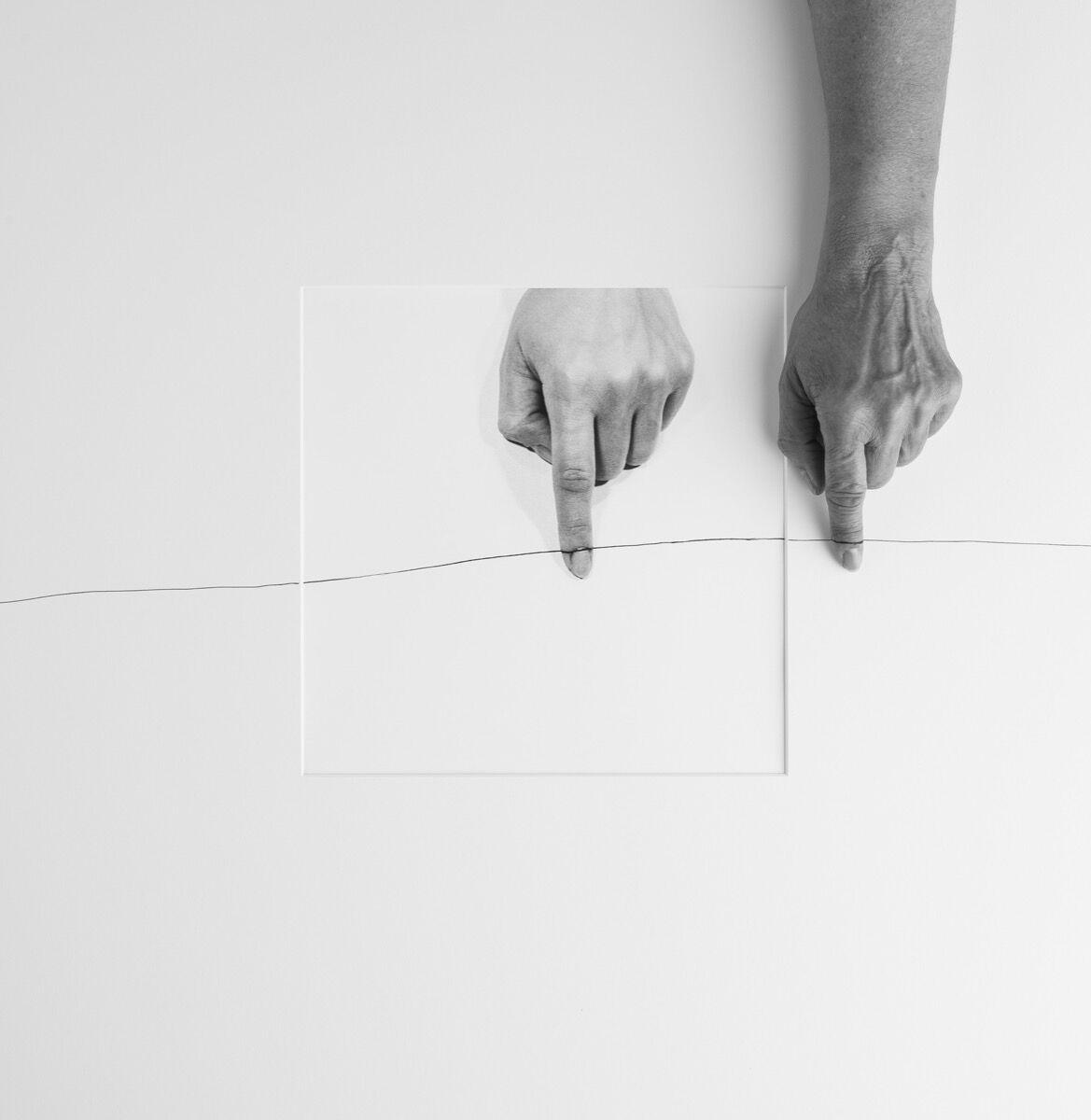 Liliana Porter,Forty Years IIIB (hand over horizontal line 1973), 2013. Courtesy of Hosfelt Gallery.