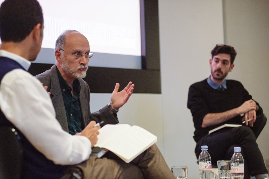 FORUM London 2015: Omar Berrada, Professor Gilbert Achcar and Dr Andrew Arsan © Benjamin Hoffman.