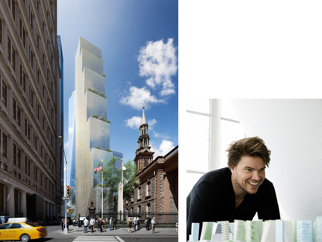 Bjarke Ingels Group, 2 WTC. Image by DBOX. Portrait of Bjarke Ingels. Photo by Steve Benisty. Courtesy of Bjarke Ingels Group.