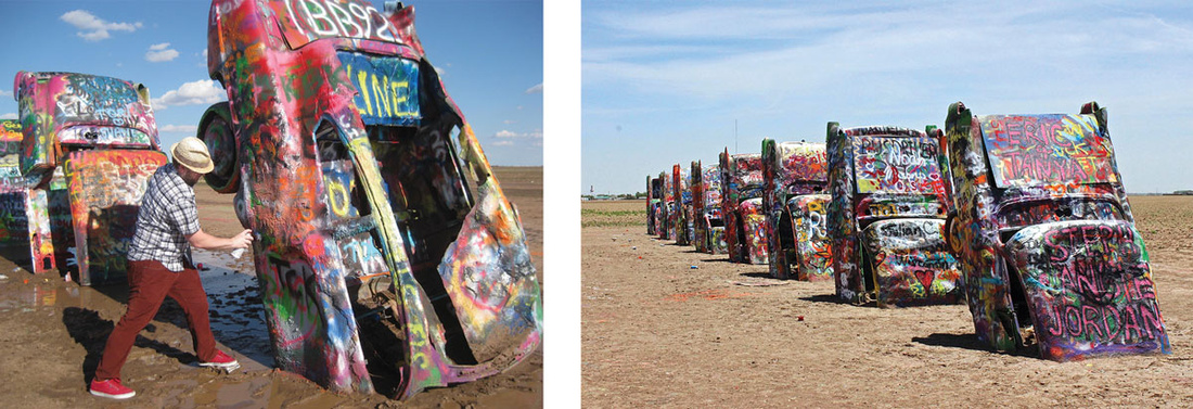 Cadillac Ranch today. Left: Photo bybruthanick, via Flickr. Right: Photo byscott1346, via Flickr.