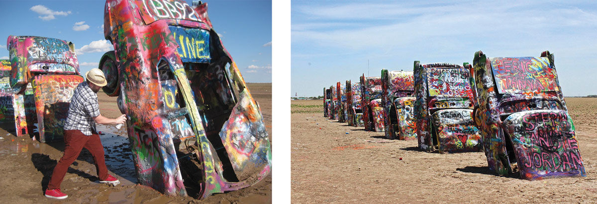 Cadillac Ranch today. Left: Photo by bruthanick, via Flickr. Right: Photo by scott1346, via Flickr.