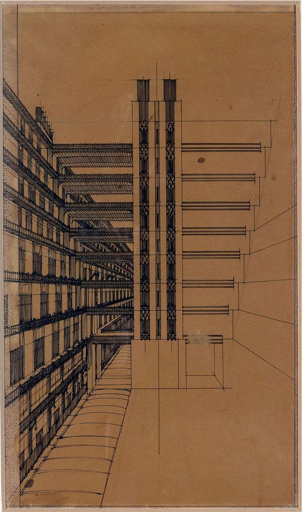 Antonio Sant'Elia, Via secondaria per pedoni con ascensori nel mezzo, 1914. Image via Wikimedia Commons.
