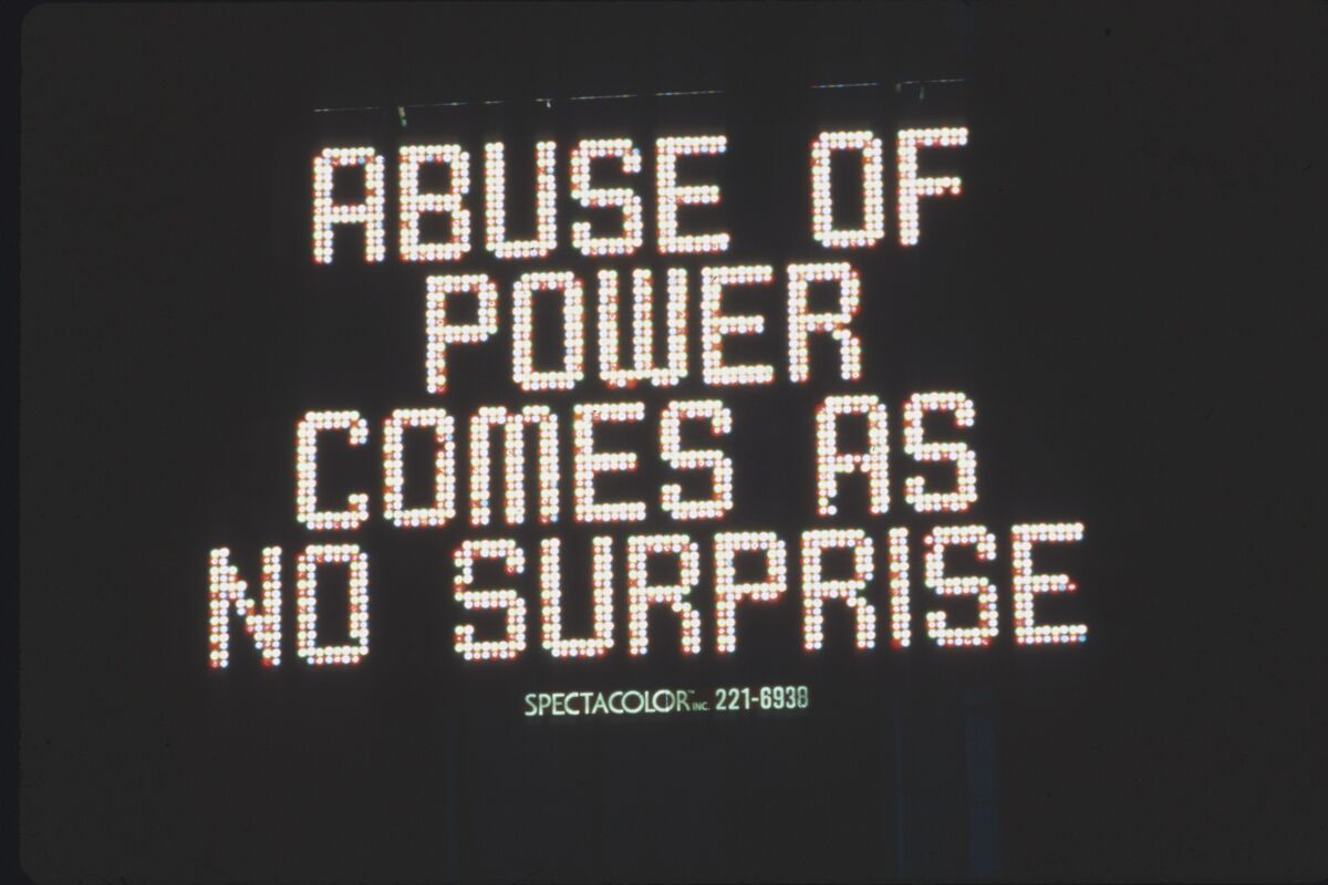 Jenny Holzer, Untitled, 1982. Photo by John Marchael. Artwork courtesy of: Jane Dickson, Project Initiator and Animator​Image Courtesy of Public Art Fund, NY.