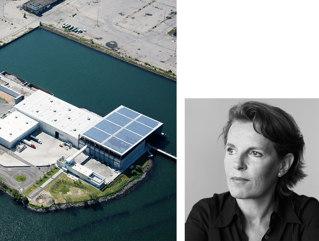 Selldorf Architects, Sunset Park Material Recovery Facility, Brooklyn, New York. Image by John Majoris. Portrait of Annabelle Selldorf by Brigitte Lacombe. Courtesy of Selldorf Architects.