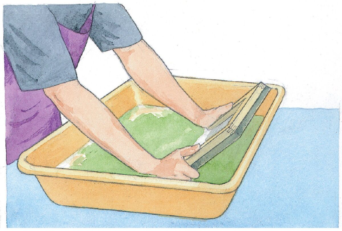 Dipping the mould and deckle into the vat of pulp. Illustration by Alison Kolesar from Papermaking with Garden Plants and Common Weeds by Helen Hiebert.
