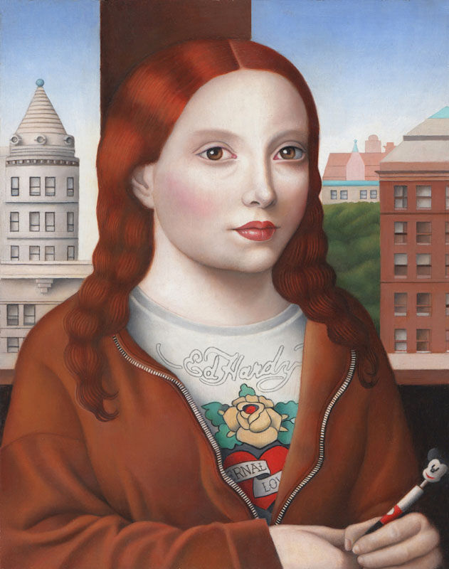 Amy Hill, Young Woman with Mickey Mouse Pen, 2016. Courtesy of The Bennett Prize.