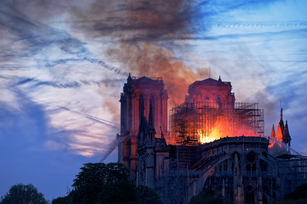 Notre Dame Cathedral engulfed in flames on April 15, 2019. Photo by Olivier Mabelly, via Flickr.