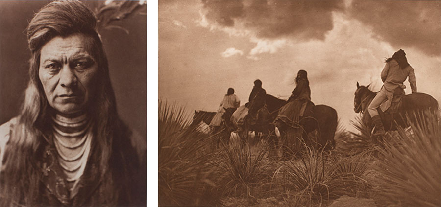 Left:Edward Curtis, Black Eagle, Nez Percé, 1911, photogravure, from The North American Indian. Right: Edward Sheriff Curtis (American, 1868–1952), Storm – Apache, 1906, plate 9 from the portfolio The North American Indian, volume 1, photogravure, gift of Henrietta E. Failing