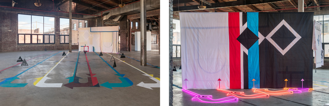 """Installation views of Alison O'Daniel,""""Room Tone,"""" 2016,at the Knockdown Center, Maspeth, NY. Courtesy the artist and Art in General."""