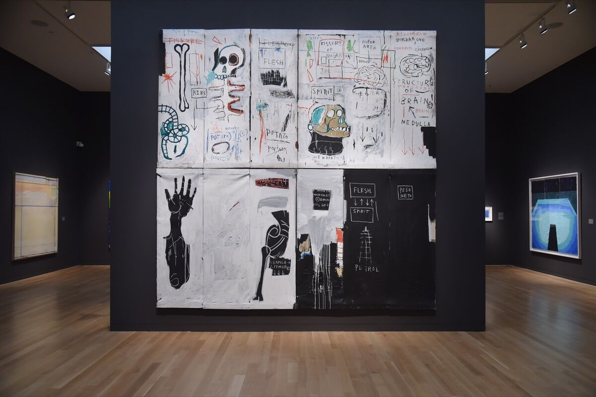 Flesh and Spirit (1982-83) by Jean-Michel Basquiat is viewed during a Sotheby's preview of the May Evening Sale of Impressionist and Modern Art, in New York on May 4, 2018. HECTOR RETAMAL/AFP/Getty Images.