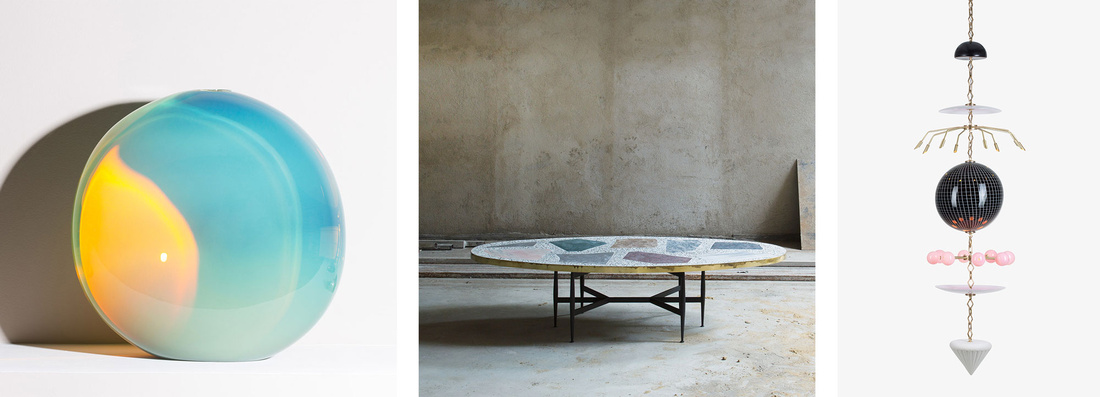 """Left to right: John Hogan,""""Mire,""""2016. ROOMS,""""Magic Stone Oval Coffee Table,""""2016, Lindsey Adelman,""""Totem I,""""2014. All courtesy of The Future Perfect."""