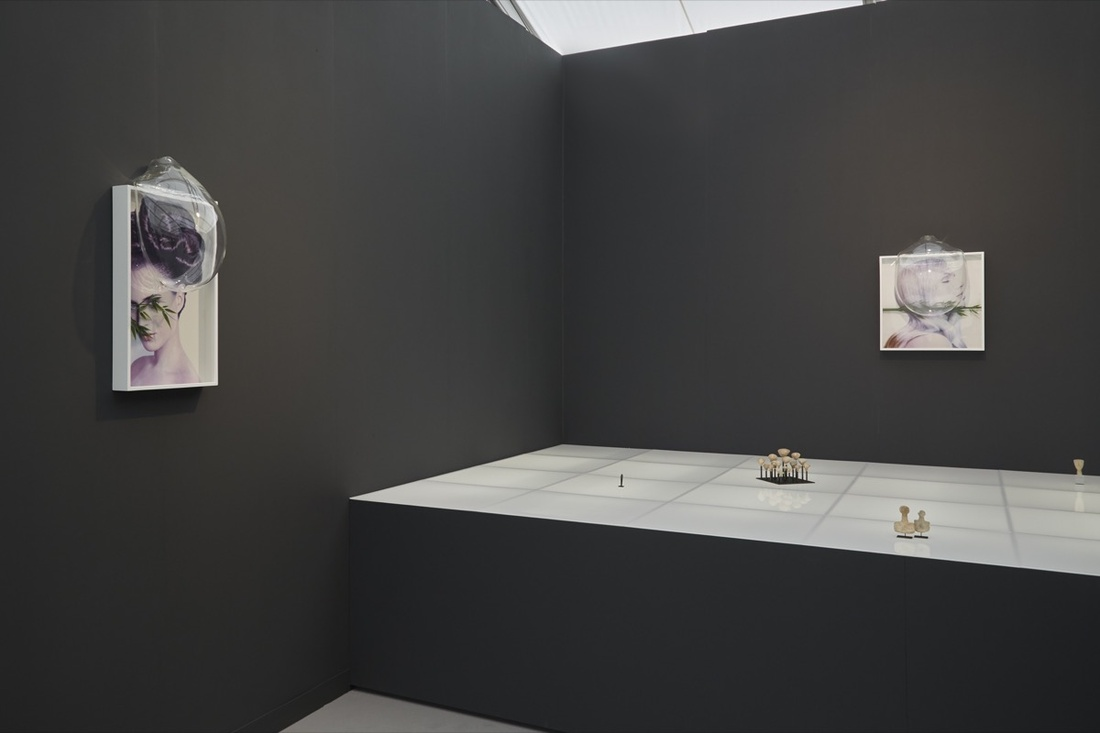 Installation view of work by Gabriele Beveridge at the CHEWDAY'S booth at Frieze London, 2016. Photo by Benjamin Westoby for Artsy.