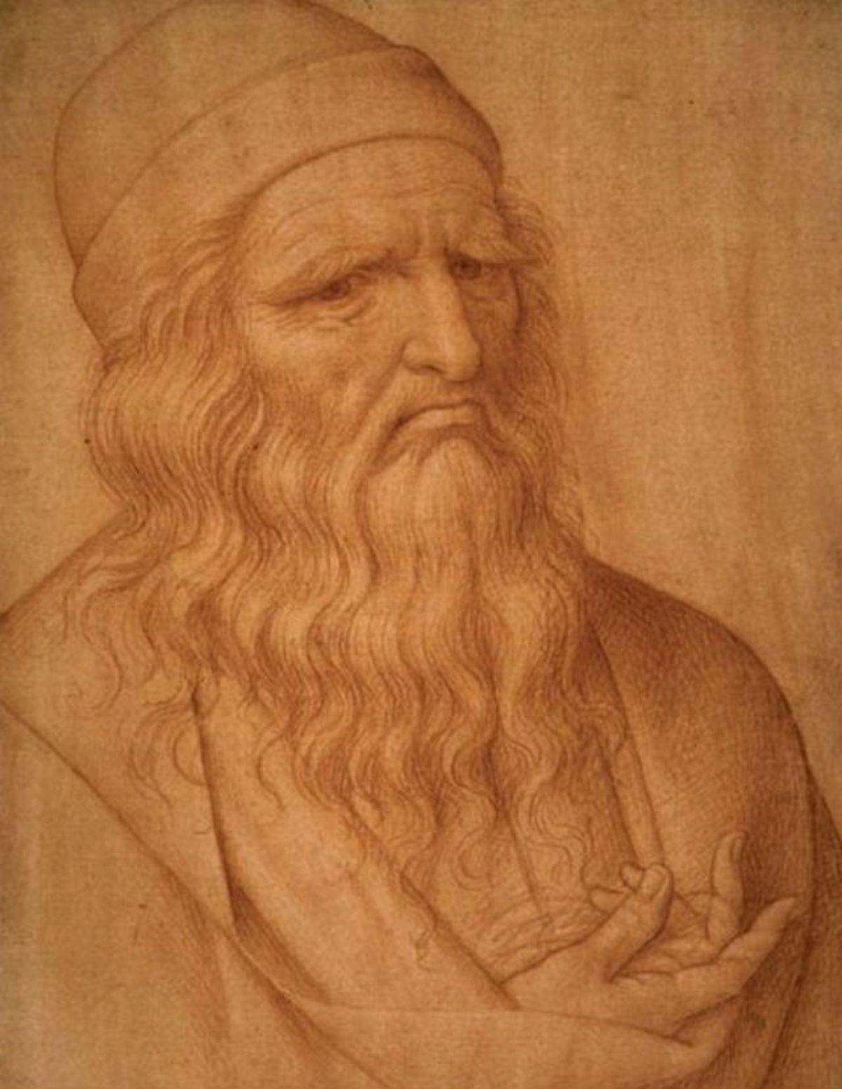 Giovanni Ambrogio Figino portrait of Leonardo da Vinci. Courtesy Gallerie dell'Accademia, Venice.