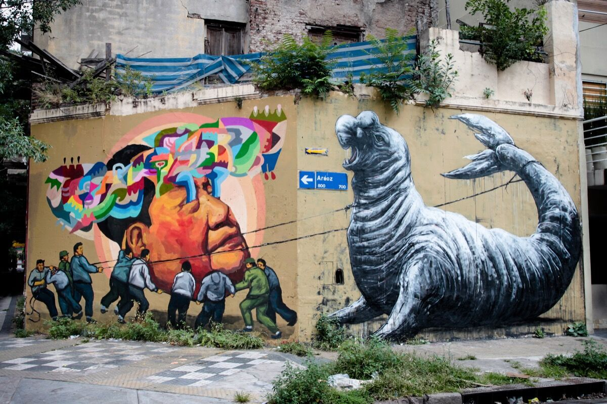 Collaborative mural by Ever and ROA, Buenos Aires. Photo by Ever, via Flickr.
