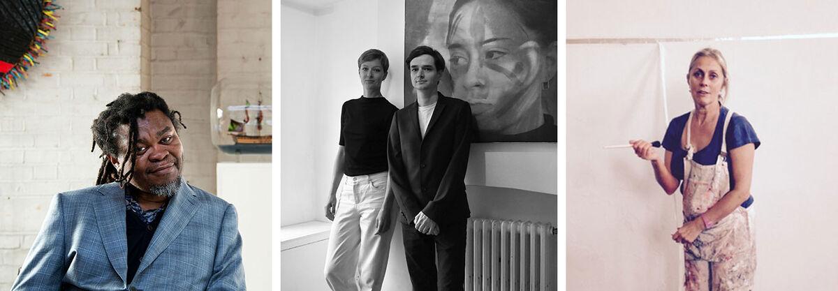 Left to right:Yinka Shonibareof Guest Projects;Samuel Levack and Jennifer Lewandowskiof French Riviera; Naomi Siderfin of Beaconsfield Gallery Vauxhall.