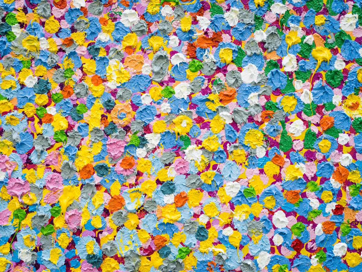 "Detail of a painting by Damien Hirst in ""The Veil Paintings"" at Gagosian, Los Angeles. Photo by Emily Berl for Artsy."