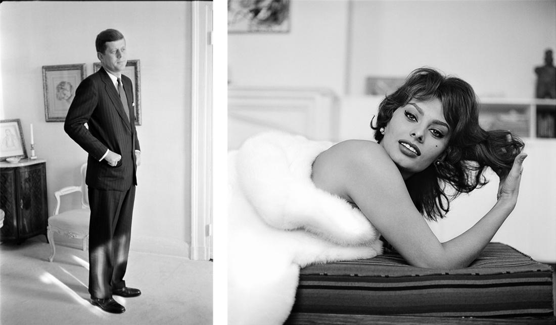 Tony Vaccaro, John F Kennedy, US President, Washington, DC,1960; Tony Vaccaro, Sophia Loren, Actress, New York City, NY, 1959. CourtesyTony Vaccaro Studio/Monroe Gallery.