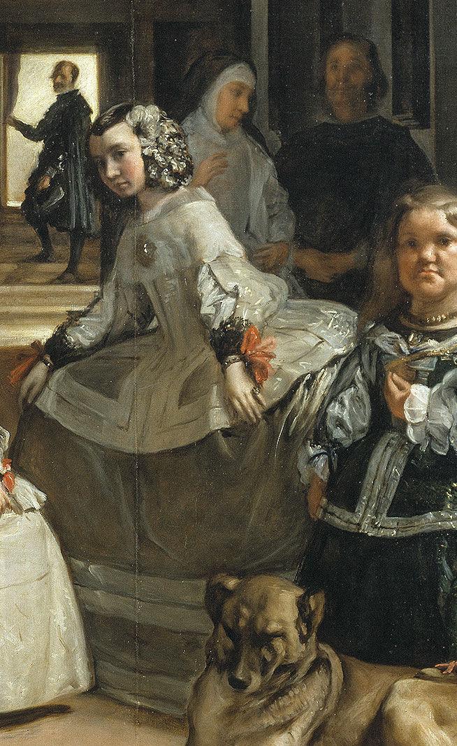 Detail of the background figures in Las Meninas.