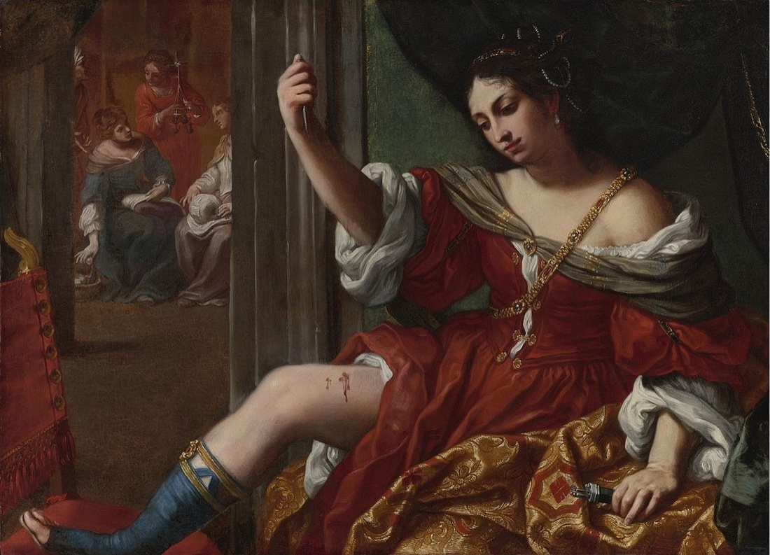 Elisabetta Sirani,Portia wounding her thigh, 1664.