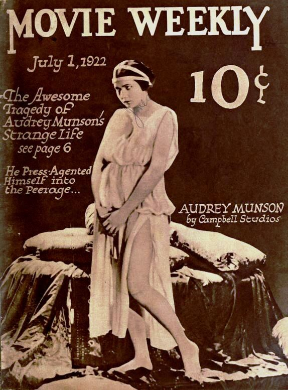 Film still of Audrey Monson in Heedless Moths, 1921,  on the cover of Movie Weekly, 1922. Photo via Wikimedia Commons.