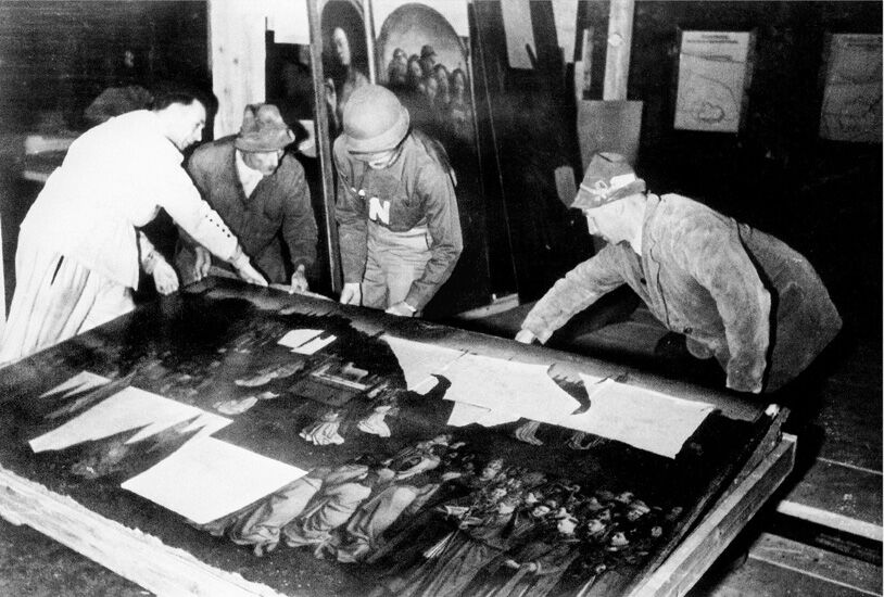 The Ghent Altarpiece recovered from the Altaussee salt mine at the end of World War II. Photo via Wikimedia Commons.