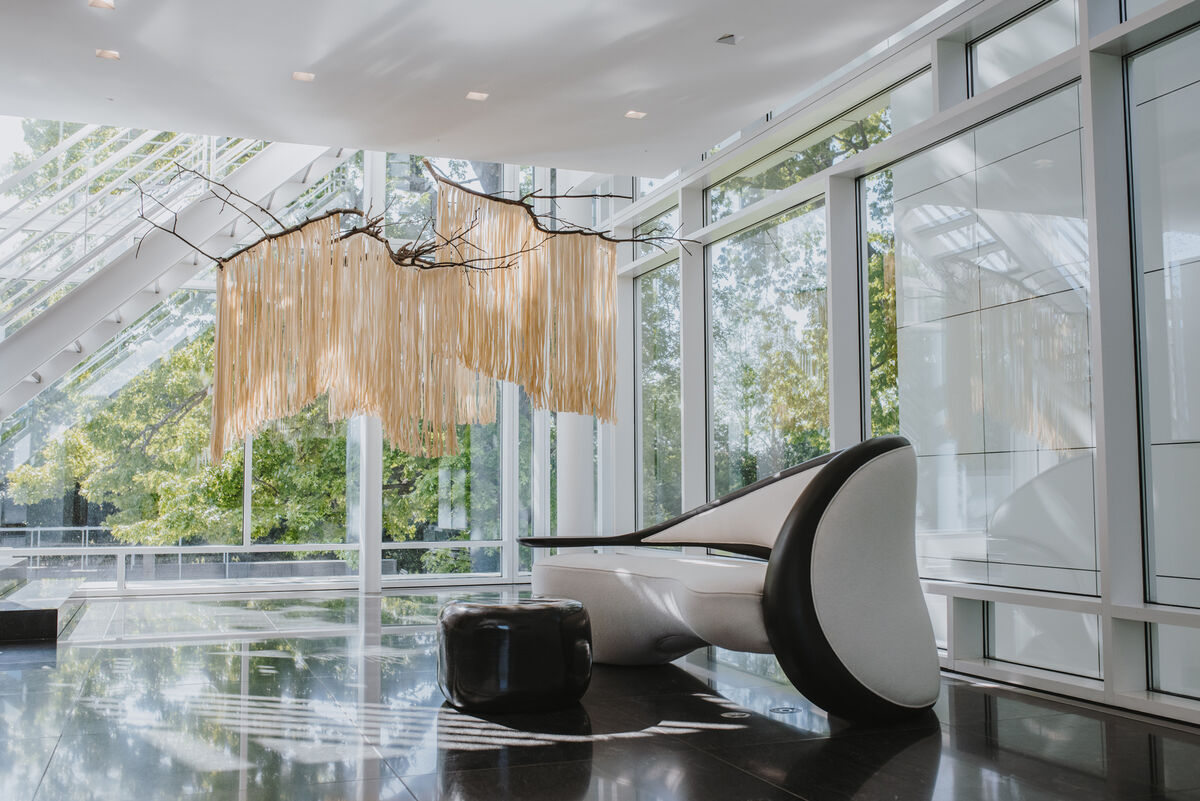 Interior view of The Rachofsky House, featuring Seung-Taek Lee, Paper Tree, 1970s. Courtesy of the artist; Gallery Hyundai, Seoul; and Lévy Gorvy, New York. Photo by Valerie Chiang for Artsy.