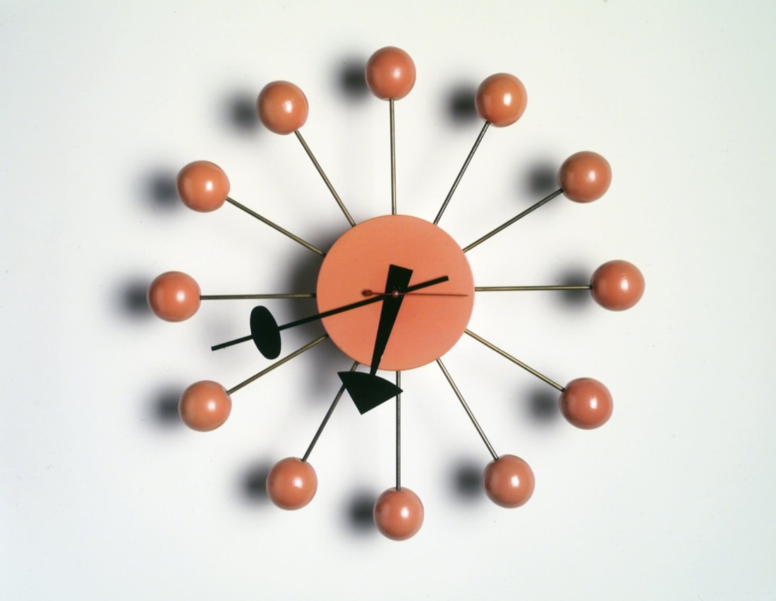 "Irving Harper (American, 20th century). ""Ball"" Wall Clock, 1948-1969. Painted birch, steel, brass, 13 1/2 x 13 1/2 x 2 3/4 in. (34.3 x 34.3 x 7 cm). Brooklyn Museum, H. Randolph Lever Fund, 2000.101.1"