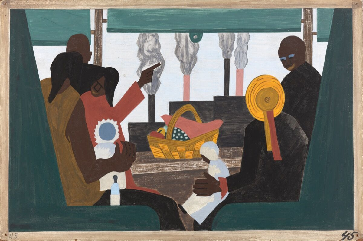 Jacob Lawrence, The Migration Series, Panel no. 45: The migrants arrived in Pittsburgh, one of the great industrial centers of the North, 1940–1941. © The Jacob and Gwendolyn Lawrence Foundation, Seattle / Artists Rights Society (ARS), New York. Courtesy of The Philips Collection.