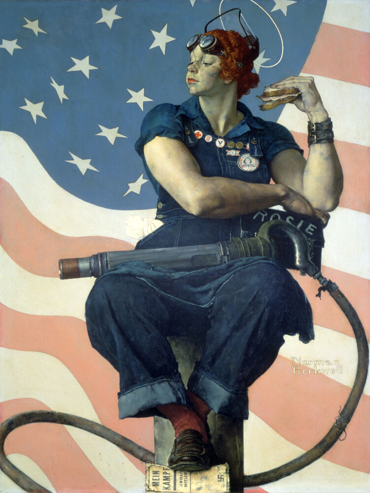 Norman Rockwell, Rosie the Riveter, 1943. Cover illustration for The Saturday Evening Post, May 29, 1943. © SEPS: Curtis Licensing, Indianapolis, IN. Courtesy of the Crystal Bridges Museum of American Art, Bentonville, AR.