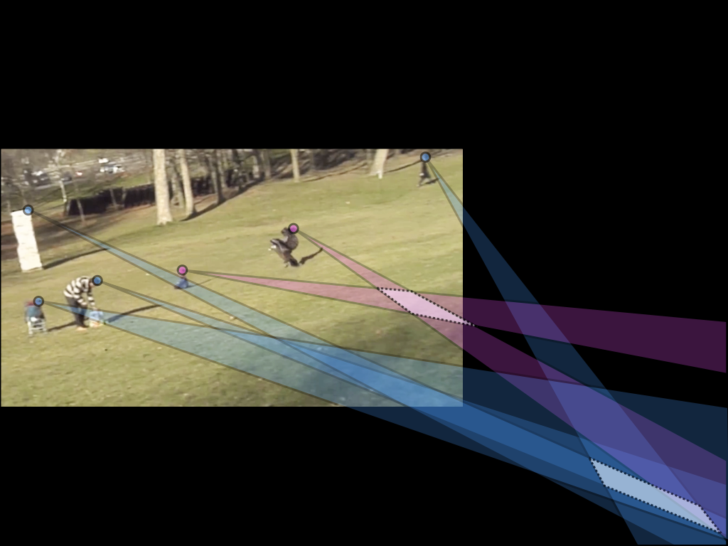 "This image shows a shadow analysis of the viral video ""Golden Eagle Snatches Kid"" (45 Million Views.) This analysis reveals that the shadows for the eagle/baby (magenta) are inconsistent with the shadows (blue) in the rest of the scene. Courtesy of Hany Farid."