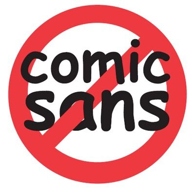 "Sticker from the website ""bancomicsans.com,"" via Wikimedia Commons."