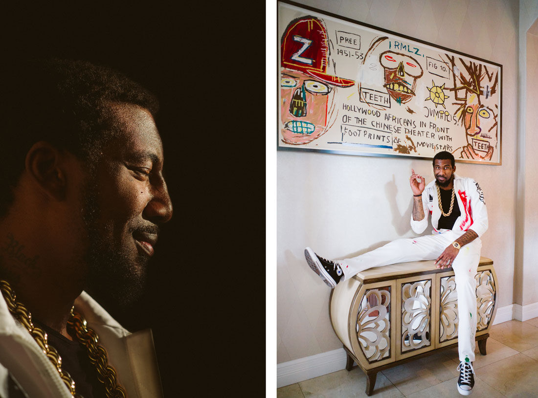 Left: Portrait of Amar'e Stoudemire in his Miami home. Right: Portrait of Amar'e Stoudemire with a work by Jean-Michel Basquiat in his Miami home. Photos by Gesi Schilling for Artsy.