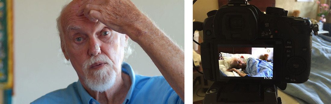 Left: Film still from End of Life, featuring Ram Dass; Right: Set shot from End of Life. Images courtesy of Equitable Vitrines.