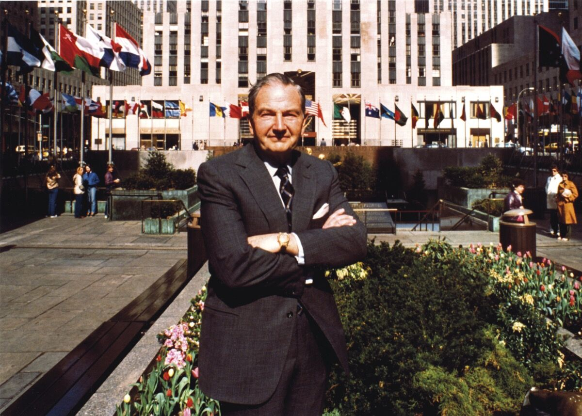 David Rockefeller in Rockefeller Plaza, April 1982. © Rockefeller Archive Center. Courtesy of Christie's.