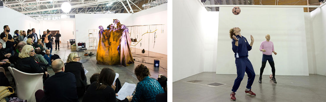 Performances by Iza Tarasewicz, left, andFlavio Favelli, right, at Artissima, 2015. Photos courtesy ofGiorgio Perottino and Filippo Alfero.