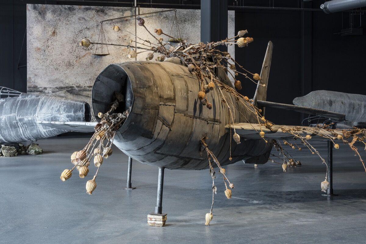 """Anselm Kiefer, installation view of """"For Louis-Ferdinand Céline: Voyage au bout de la nuit,"""" Copenhagen Contemporary 2016. Photo by Anders Sune Berg, courtesy of Copenhagen Contemporary."""