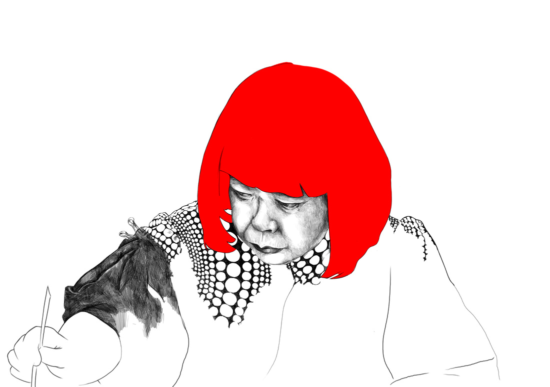 Illustration of Yayoi Kusama by Rebecca Strickson for Artsy, based on a photograph by Go Itame. Original photograph © Yayoi Kusama. Courtesy of KUSAMA Enterprise, Ota Fine Arts, Tokyo / Singapore and David Zwirner, New York.