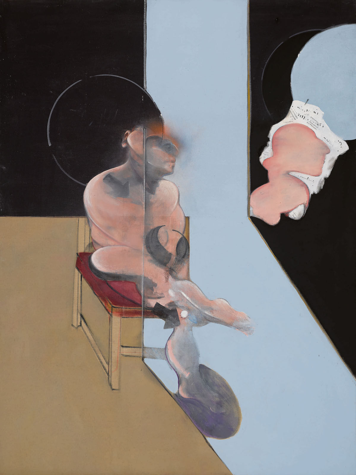 Francis Bacon, Study for Portrait, 1981, oil and dry transfer lettering on canvas. Est. $12 million–$18 million. Courtesy Sotheby's.