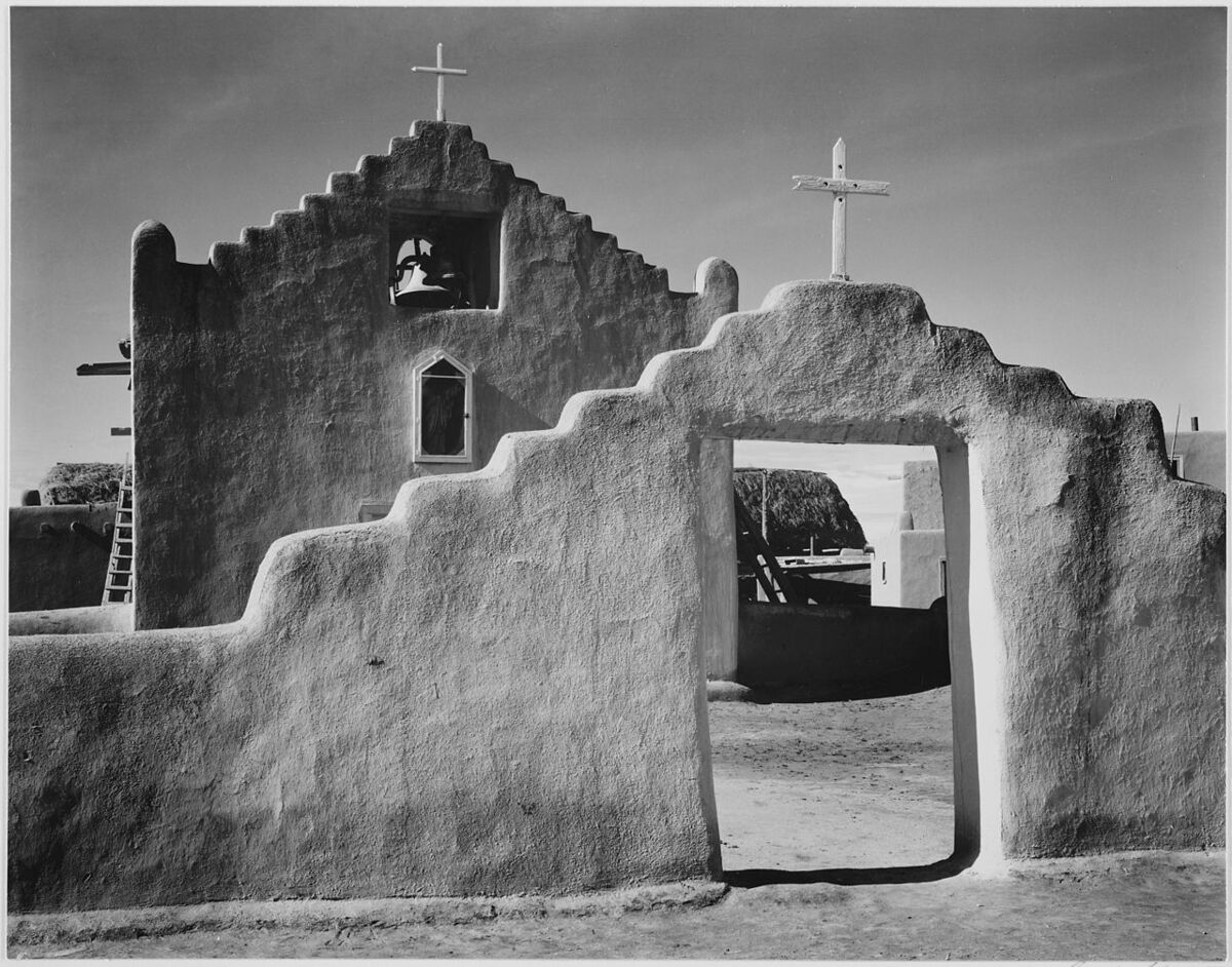 Ansel Adams, Church, Taos Pueblo National Historic Landmark, New Mexico, 1941. Courtesy of The National Archives.