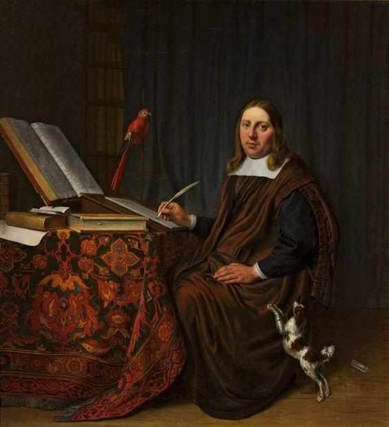 Hendrik Martenszoon Sorgh, Portrait of a man writing at a table (Scholar in his study), 1663. Image via Wikimedia Commons.