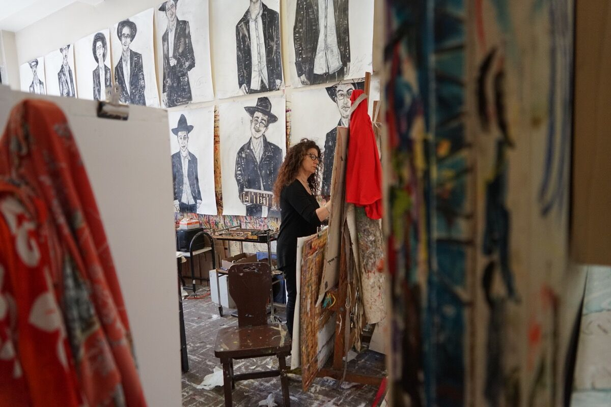 Photo of Nancy Rosen in her studio by David Rosen. Courtesy of the artist.