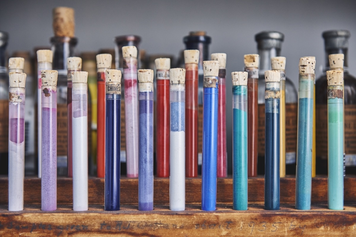 Vials of pigments held by the Forbes Collection. Photo by Tony Luong for Artsy.