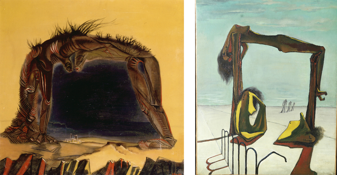 Left: Roland Penrose, Egypt, 1939. © LeeMillerArchives; Right: Ramses Younane, Sans titre,  1939. Collection S.E. Sheikh Hassan M. A. al-Thani, Doha. Photo: Haitham Shehab. Images courtesy of Centre Pompidou.