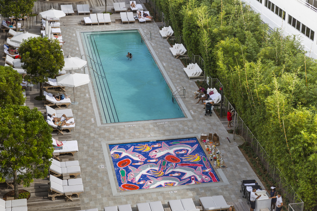 Katherine Bernhardt's Artsy Projects swimming pool installation at Nautilus, a SIXTY Hotel, Miami. Photo by Silvia Ros for Artsy.