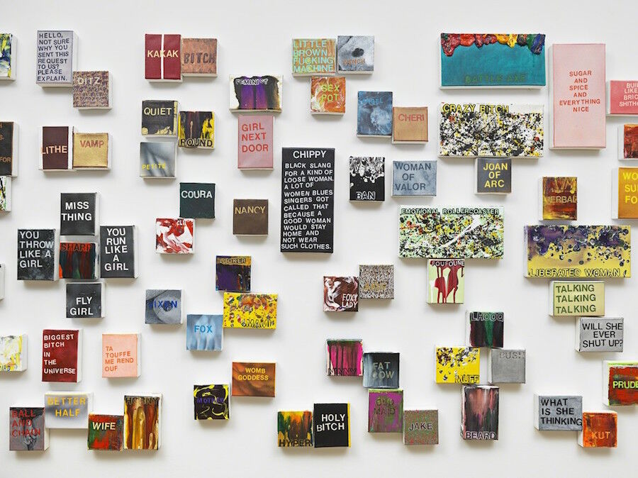 "Installation view of ""Betty Tompkins: WOMEN Words, Phrases, and Stories"" courtesy of the FLAG Art Foundation. Photo by Genevieve Hanson, NYC."