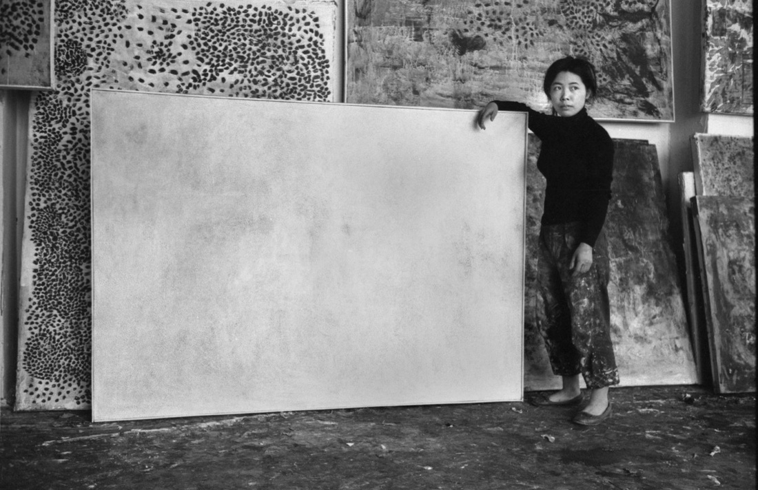Yayoi Kusama in her studio, c. 1959. Photograph by Kenneth van Sickle. Courtesy the photographer. Image courtesy of Grey Art Gallery.