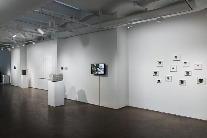 """Installation view of """"Records for Uncertain Times"""" courtesy of Taymour Grahne."""
